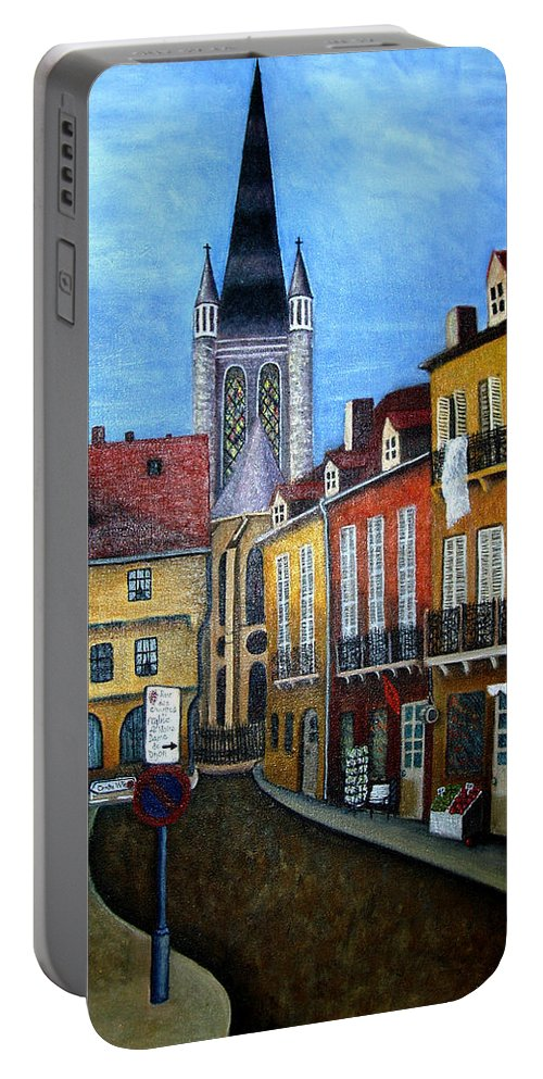 Street Scene Portable Battery Charger featuring the painting Rue Lamonnoye In Dijon France by Nancy Mueller