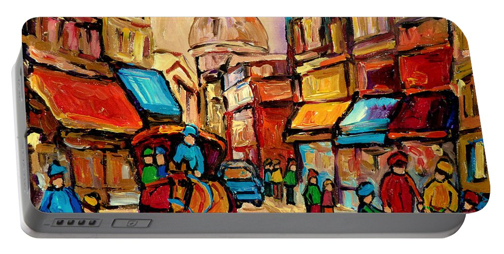 Montreal Portable Battery Charger featuring the painting Rue St. Paul Old Montreal Streetscene by Carole Spandau