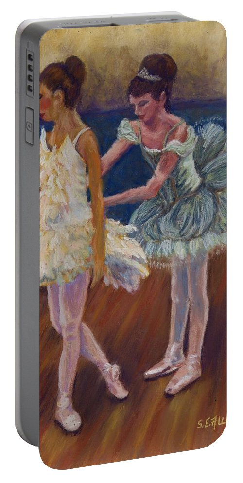 Ballerina Portable Battery Charger featuring the painting Ruffled Feathers by Sharon E Allen
