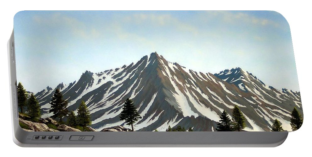 Mountians Portable Battery Charger featuring the painting Rugged Peaks by Frank Wilson