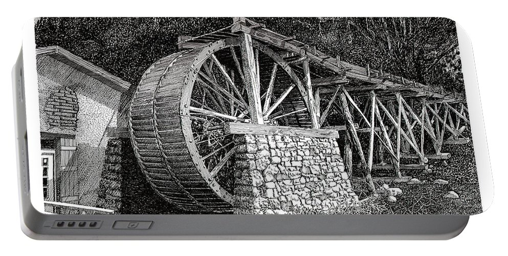 Images Of Ruidoso Waterwheel Scenic Structures Portable Battery Charger featuring the drawing Ruidoso Waterwheel by Jack Pumphrey