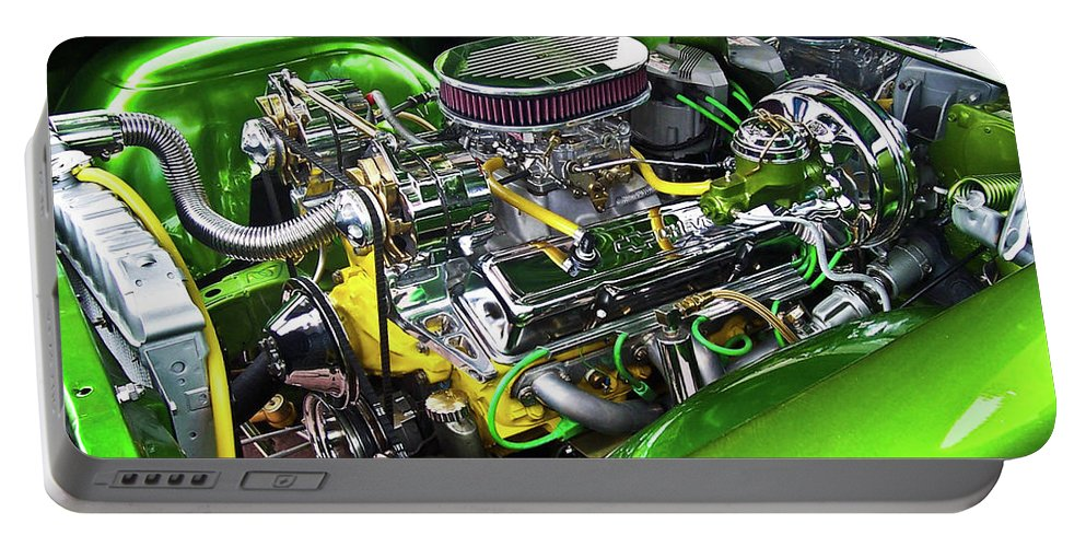 Hot Rod Portable Battery Charger featuring the photograph Rumble Engine by Redjule Photography