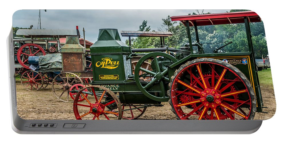 Rumley Portable Battery Charger featuring the photograph Rumley Oil Pull Tractor by Paul Freidlund
