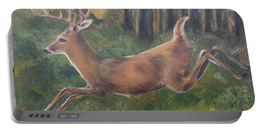 Buck Portable Battery Charger featuring the painting Running Buck by Judy Jones