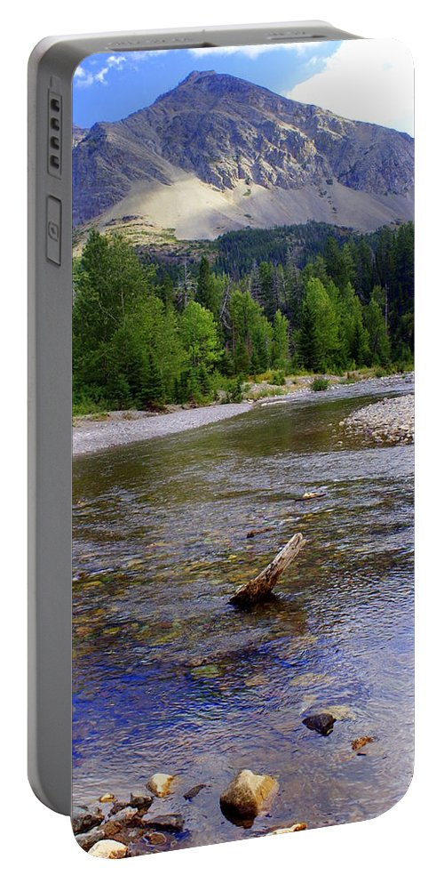 Stream Glacier National Park Portable Battery Charger featuring the photograph Running Eagle Creek Glacier National Park by Marty Koch