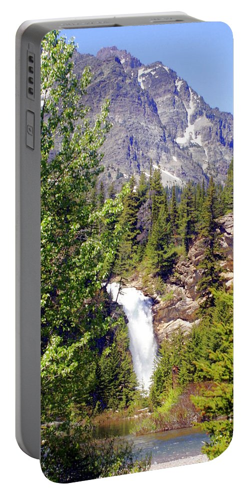 Waterfalls Portable Battery Charger featuring the photograph Running Eagle Falls Glacier National Park by Marty Koch