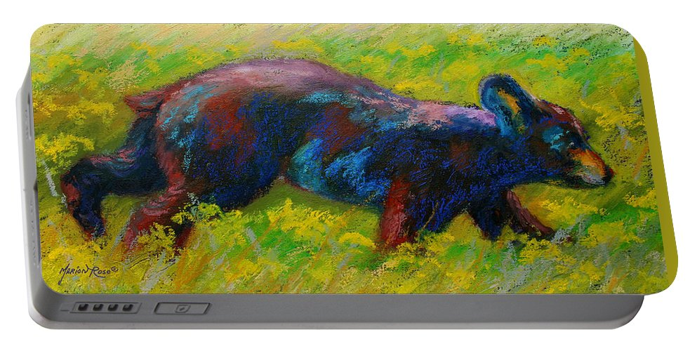 Western Portable Battery Charger featuring the painting Running Free - Black Bear Cub by Marion Rose