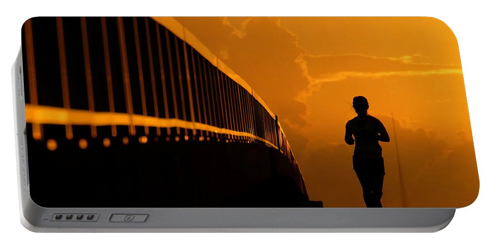 Running Portable Battery Charger featuring the photograph Running Girl by David Lee Thompson