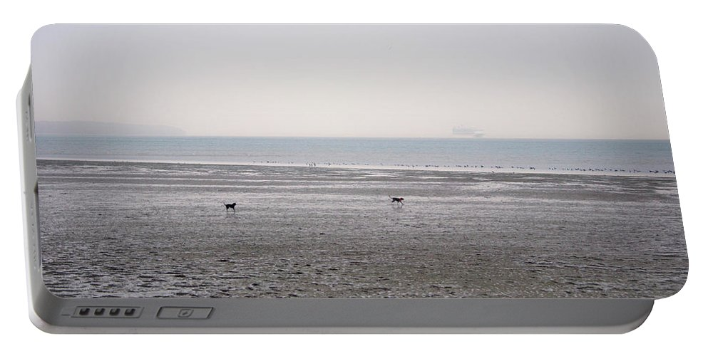 Dog Portable Battery Charger featuring the photograph Running On The Beach by Martin Newman