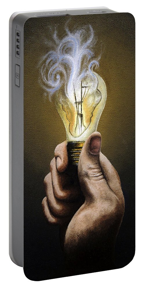 Running Portable Battery Charger featuring the painting Running Out Of Ideas by Conor O'Brien
