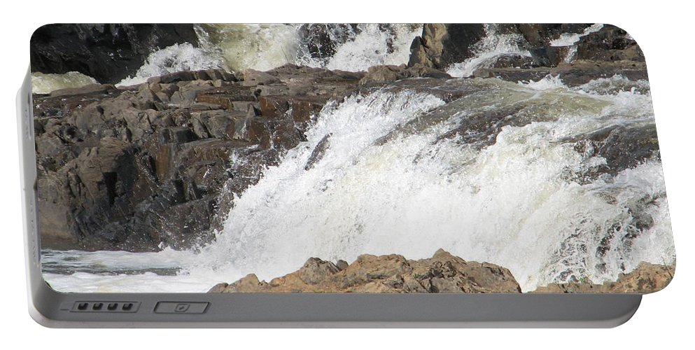 Waterfall Portable Battery Charger featuring the photograph Rushing by Kelly Mezzapelle