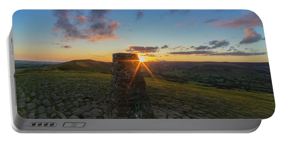 Rushup Edge Portable Battery Charger featuring the photograph Rushup Edge From Mam Tor Summit Sunset by Ian Haworth