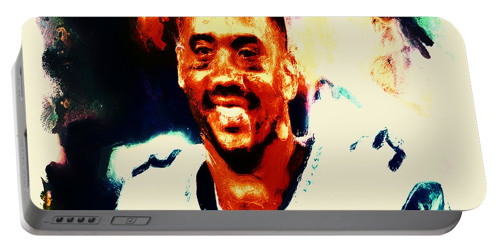 Russell Wilson Portable Battery Charger featuring the painting Russell Wilson 02b by Brian Reaves
