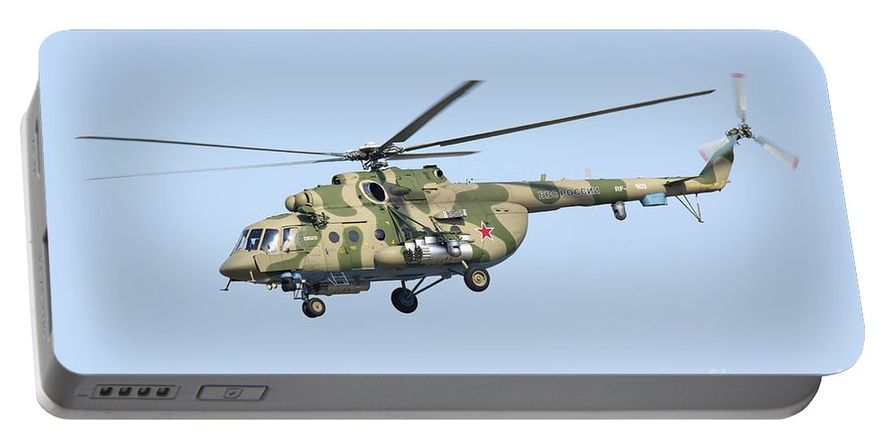 Horizontal Portable Battery Charger featuring the photograph Russian Air Force Mi-171sh Helicopter by Daniele Faccioli
