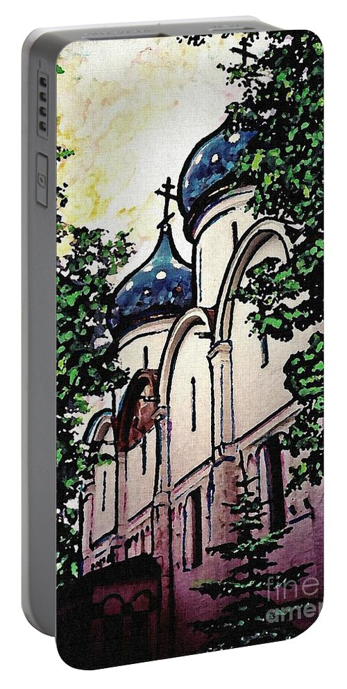 Holy Trinity Monastery Portable Battery Charger featuring the photograph Russian Church by Sarah Loft