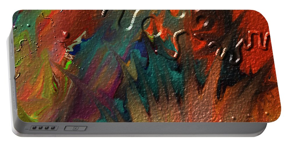 Abstract Portable Battery Charger featuring the painting Rust Never Sleeps by Kevin Caudill