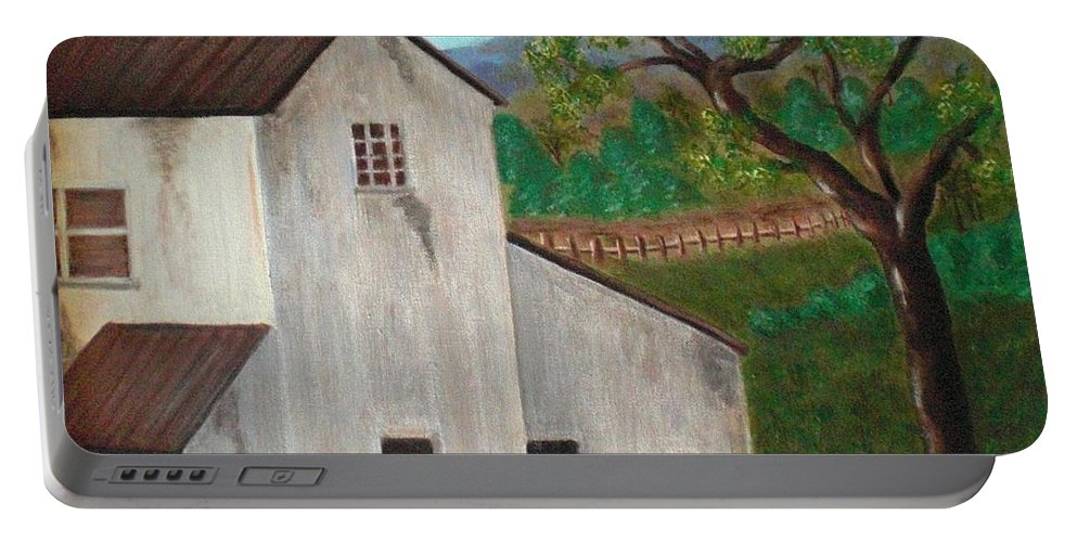 Rustic Portable Battery Charger featuring the painting Rustic House by Nancy Sisco