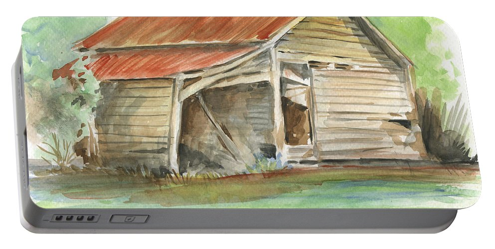 Barn Portable Battery Charger featuring the painting Rustic Southern Barn by Greg Joens