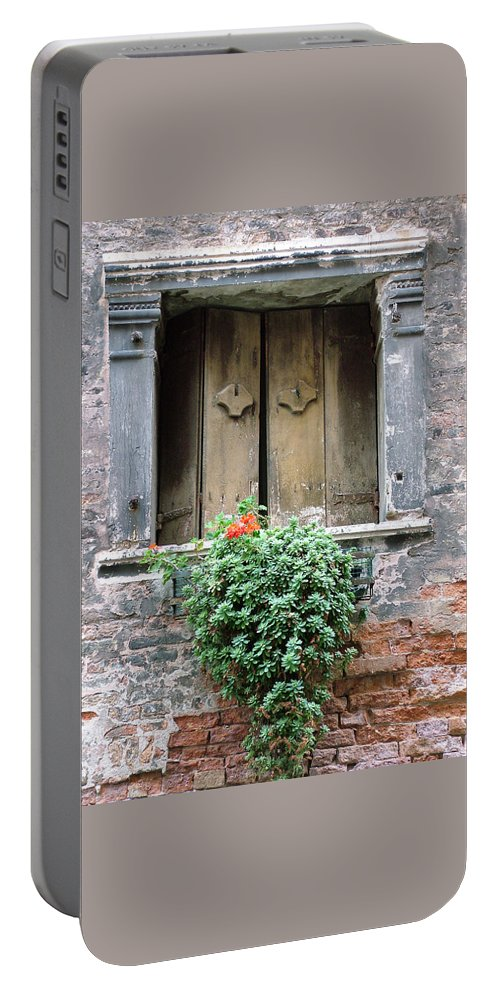 Venice Portable Battery Charger featuring the photograph Rustic Wooden Window Shutters by Donna Corless