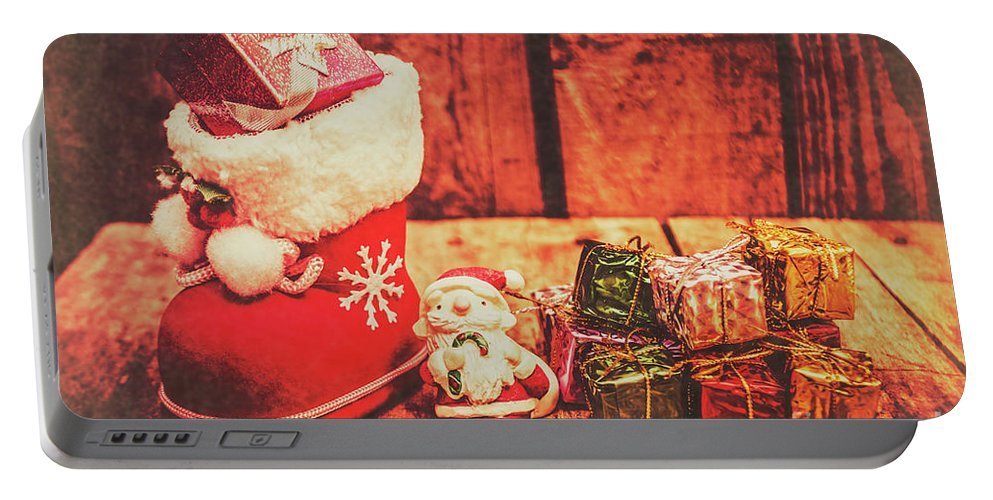 Stocking Portable Battery Charger featuring the photograph Rustic Xmas Decorations by Jorgo Photography - Wall Art Gallery