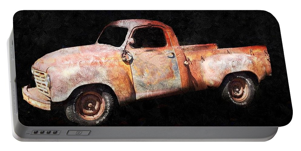 Rusty Truck Portable Battery Charger featuring the painting Rusty But Trusty by Anne Sands