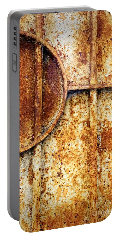 Abstract Portable Battery Charger featuring the photograph Rusty Gate Detail by Silvia Ganora