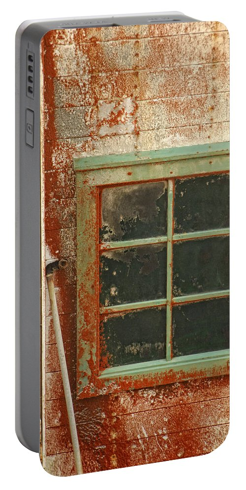 Window Portable Battery Charger featuring the photograph Rusty Lighthouse Window by Donna Blackhall