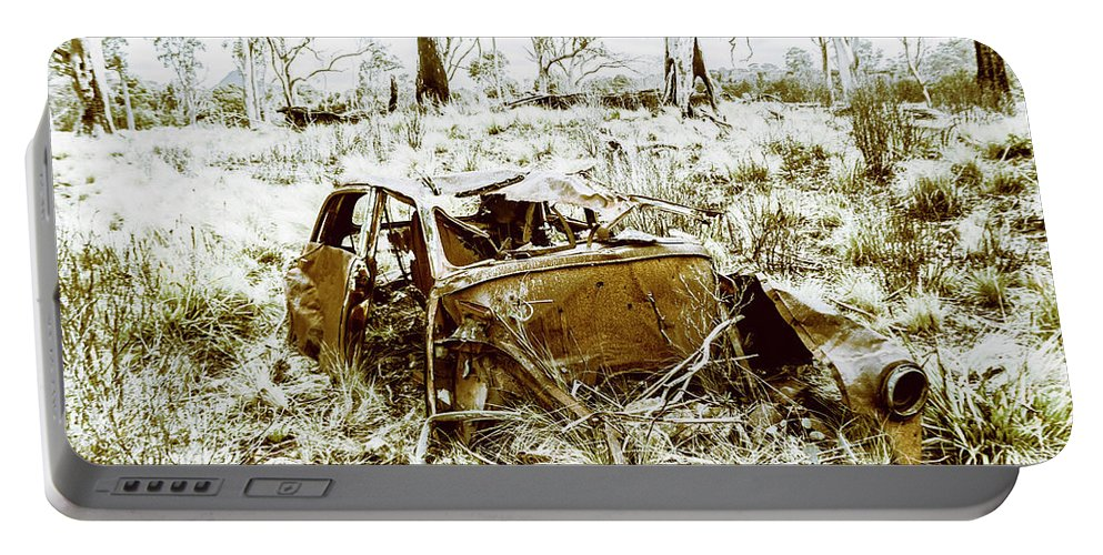 Holden Portable Battery Charger featuring the photograph Rusty Old Holden Car Wreck by Jorgo Photography - Wall Art Gallery