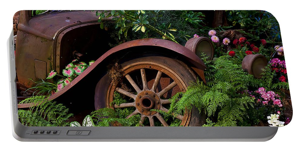 Rusty Truck Portable Battery Charger featuring the photograph Rusty Truck In The Garden by Garry Gay
