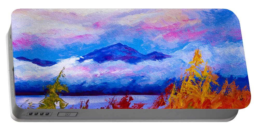 Alaska Portable Battery Charger featuring the painting Rythmn Of The Arctic by Marion Rose