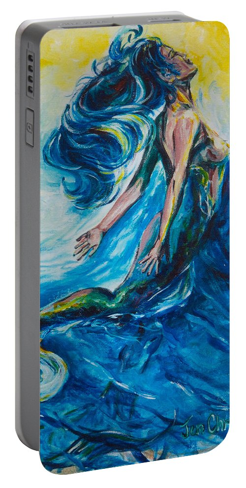 Mermaid Portable Battery Charger featuring the painting Sabrae's Transformation Tryptic I by Jennifer Christenson