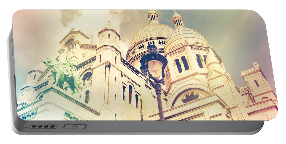 Angle Portable Battery Charger featuring the photograph Sacre Coeur Church Vintage Shabby Chic Style by Sandra Rugina