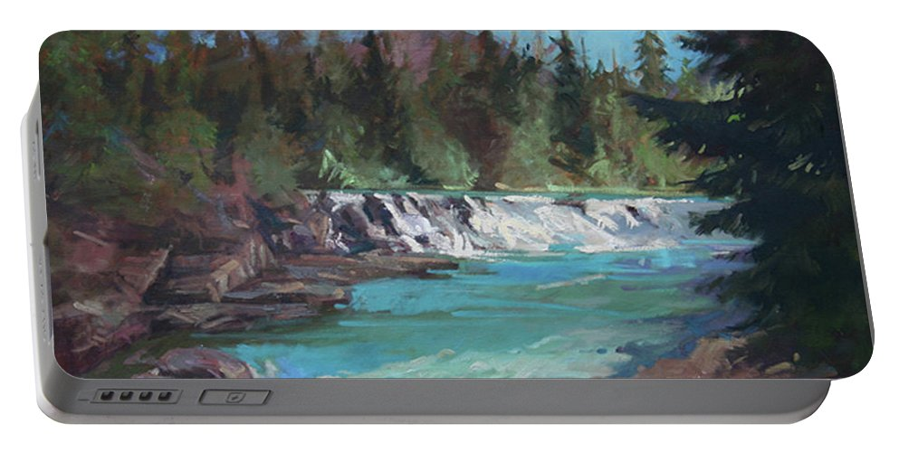 Glacier National Park Portable Battery Charger featuring the painting Sacred Dancing Cascade by Betty Jean Billups
