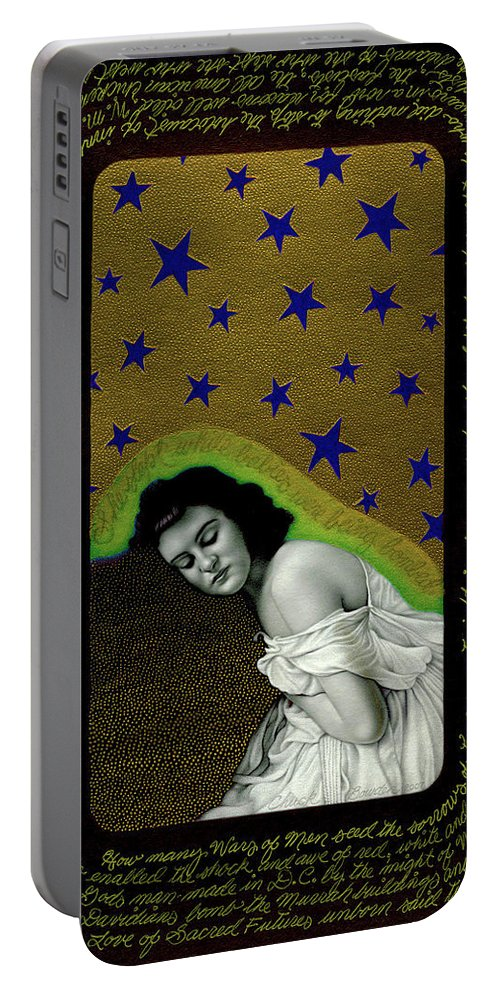 Photorealism Portable Battery Charger featuring the drawing Sacred Futures Unborn by Chuck Bowden