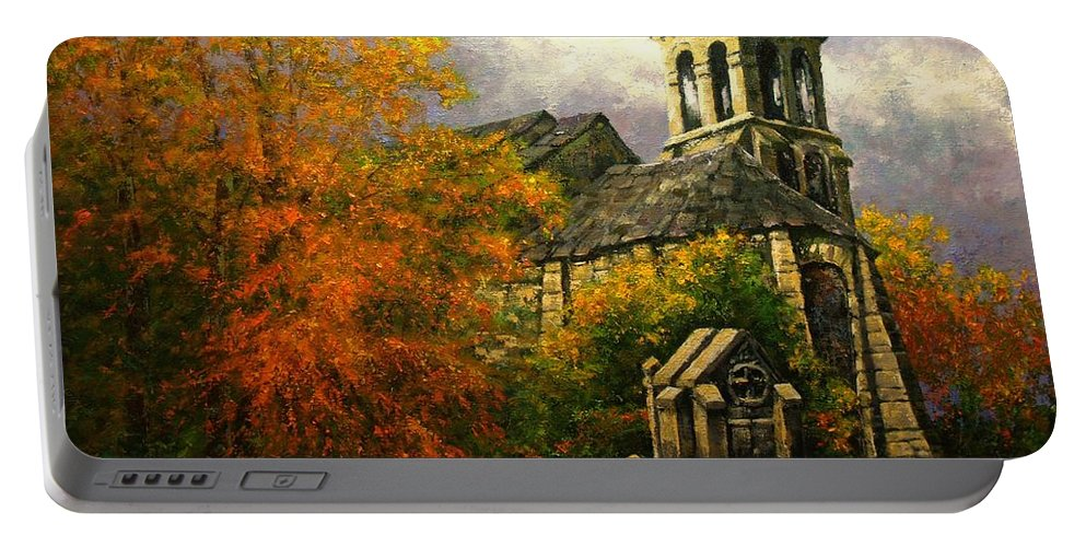 Paris Portable Battery Charger featuring the painting Sacred Heart Chapel Paris by Jim Gola