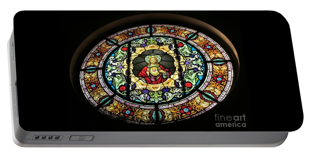 Our Lady Of Victory Basilica Portable Battery Charger featuring the photograph Sacred Heart Of Jesus Stained Glass Window by Elizabeth Duggan