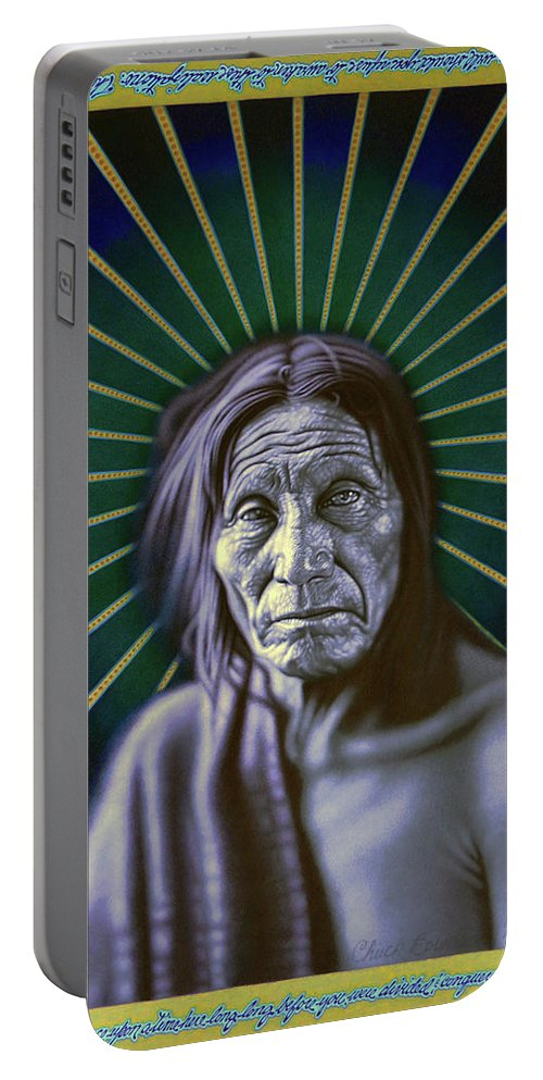 Photorealism Portable Battery Charger featuring the drawing Sacred Native by Chuck Bowden