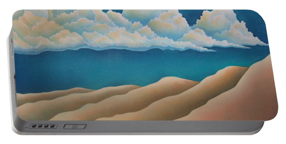 Landscape Portable Battery Charger featuring the painting Sacred Night by Jeniffer Stapher-Thomas