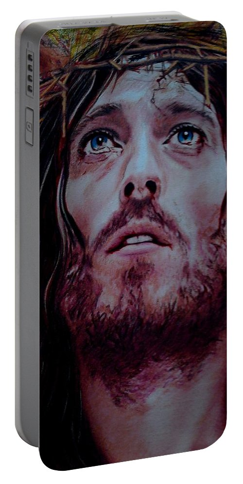 Jesus Portable Battery Charger featuring the painting Sacrificium by Mandy Thomas