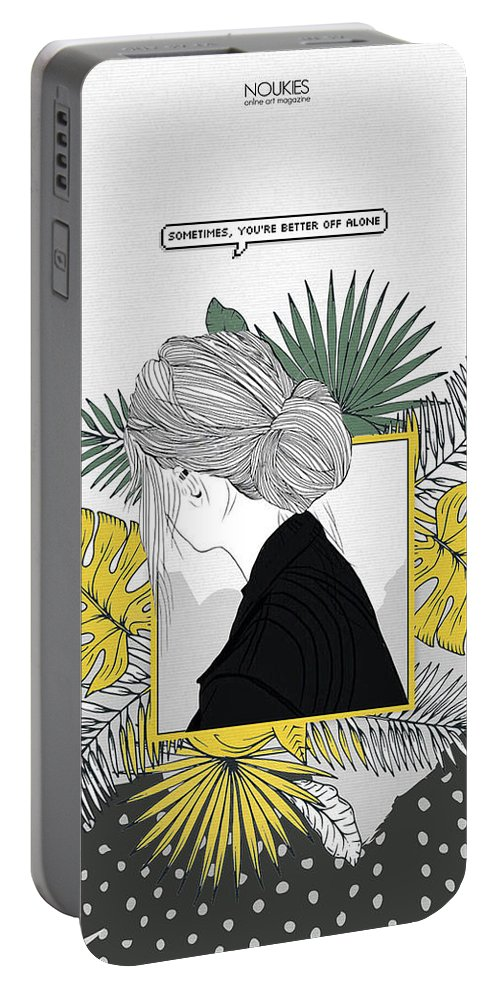 Girl Portable Battery Charger featuring the digital art Sad Girl by Nuki Chikhladze