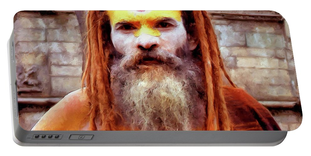India Portable Battery Charger featuring the painting Sadhu by Dominic Piperata