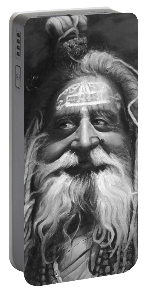 Sadhu Portable Battery Charger featuring the painting Sadhu by Portraits By NC