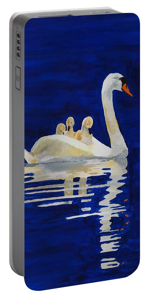 Swan Portable Battery Charger featuring the painting Safe Harbor by Rodney Campbell