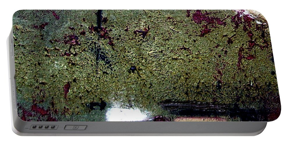 Abstract Portable Battery Charger featuring the painting Sage And Plum by Ruth Palmer