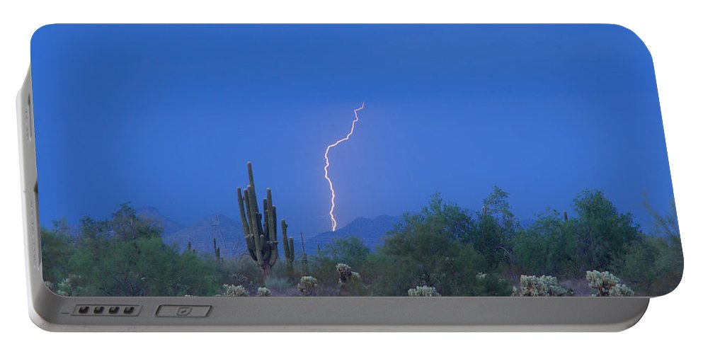 Lightning Portable Battery Charger featuring the photograph Saguaro Desert Lightning Strike Fine Art by James BO Insogna