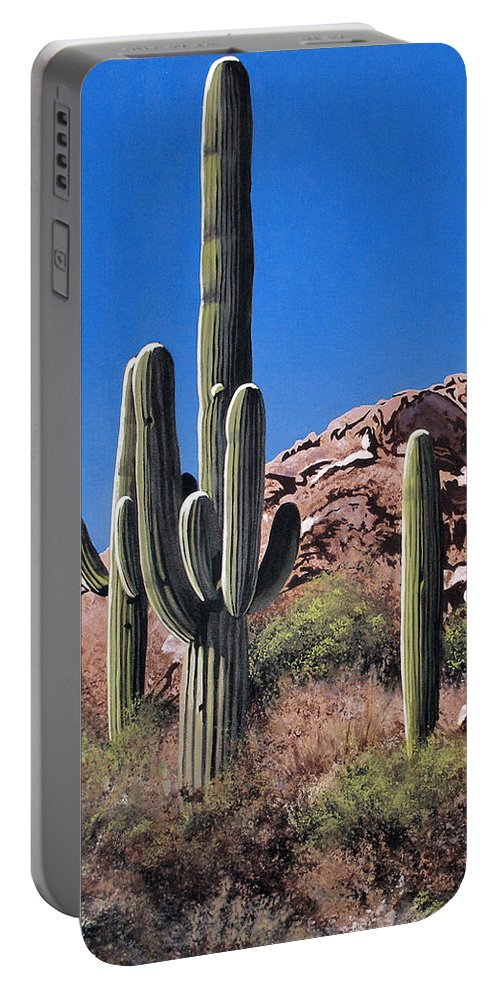 Landscape Portable Battery Charger featuring the painting Saguaro National Monument by Joe Roselle