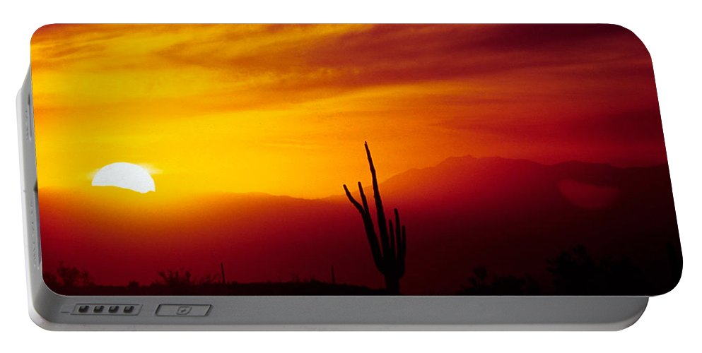 Arizona Portable Battery Charger featuring the photograph Saguaro Sunset by Randy Oberg