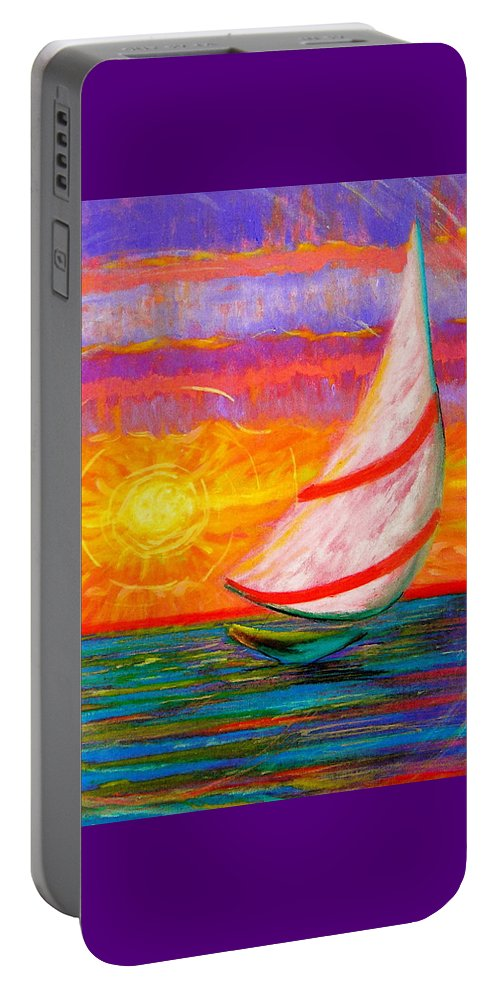 Sailboat Portable Battery Charger featuring the painting Sailaway by Jeanette Jarmon