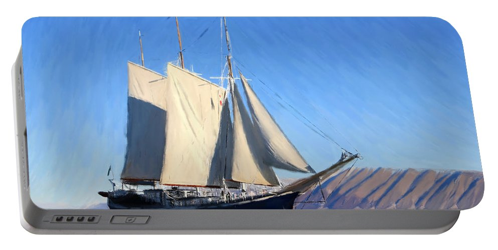 Boat Portable Battery Charger featuring the painting Sailboat - Id 16235-142740-6039 by S Lurk