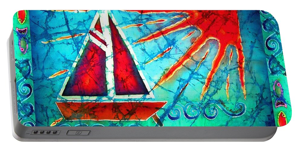 Sailboat Portable Battery Charger featuring the painting Sailboat In The Sun by Sue Duda